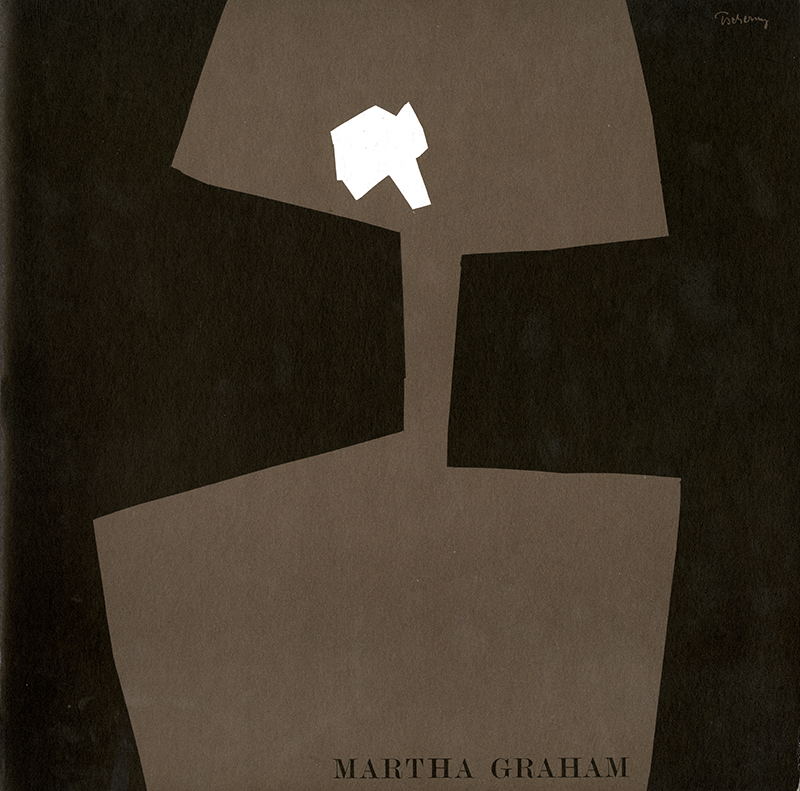 Program cover for Martha Graham with black background and abstract cut-outs in light brown and white.