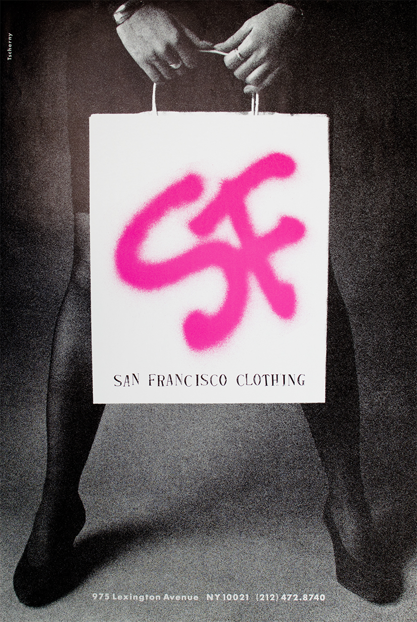 "Poster for San Francisco Clothing with grainy photo of woman holding a shopping bag with ""SF"" spray painted in pink"