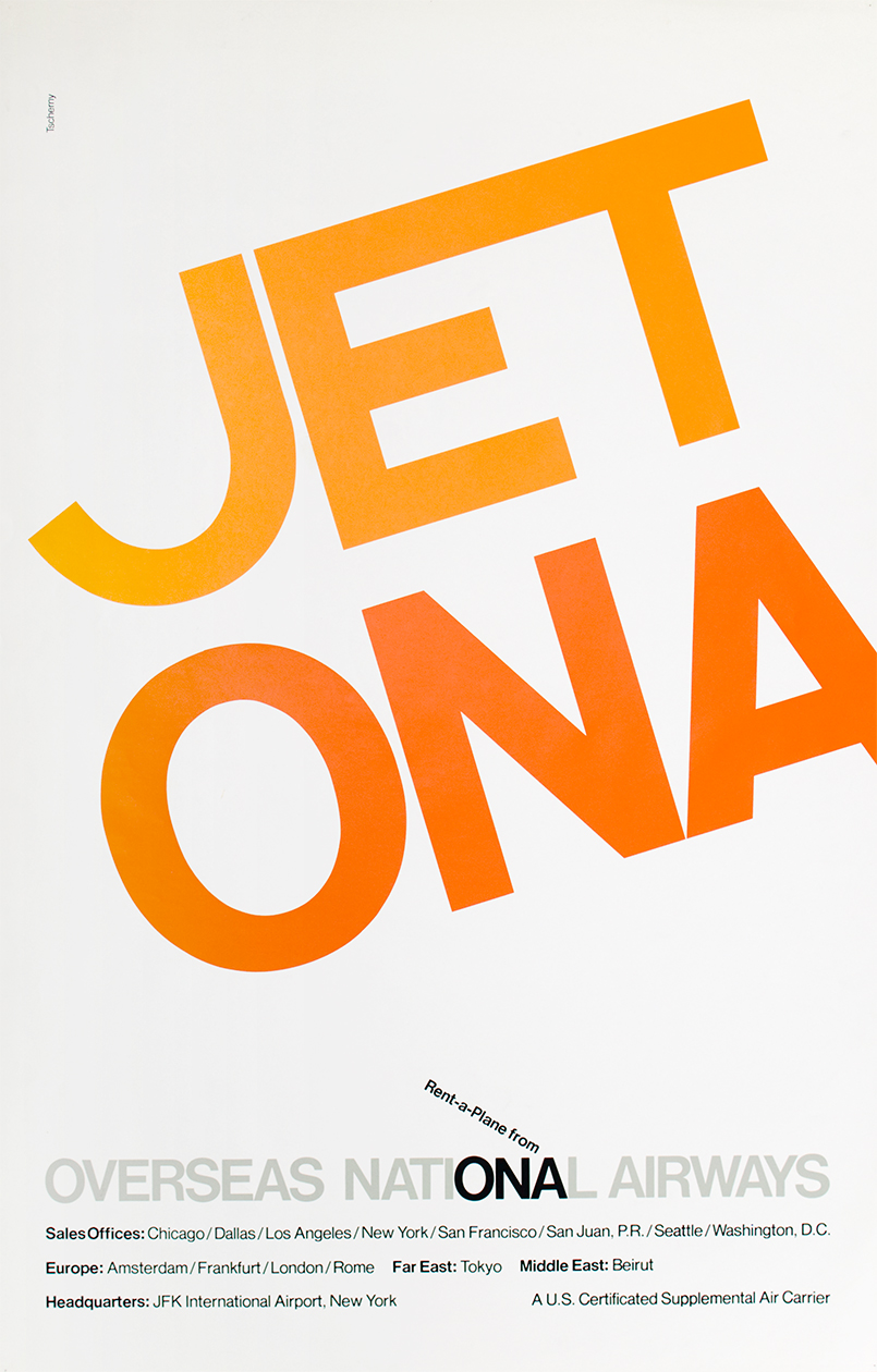 Poster for Overseas National Airways with JET ONA spelled out in large orange letters.