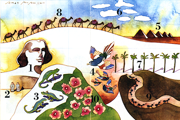 Watercolor drawing showing numbers 1-10 with the Sphinx, 2 men, 3 lizards, 4 birds, 5 pyramids, 6 clouds, 7 palm trees, 8 camels, 9 ants, and 10 flowers.