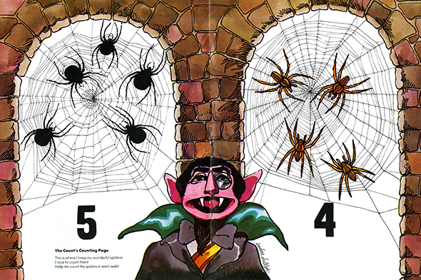 Illustration of Sesame Street's The Count in between 5 black spiders in a spiderweb on the left and 4 brown spiders in a spiderweb on the right.