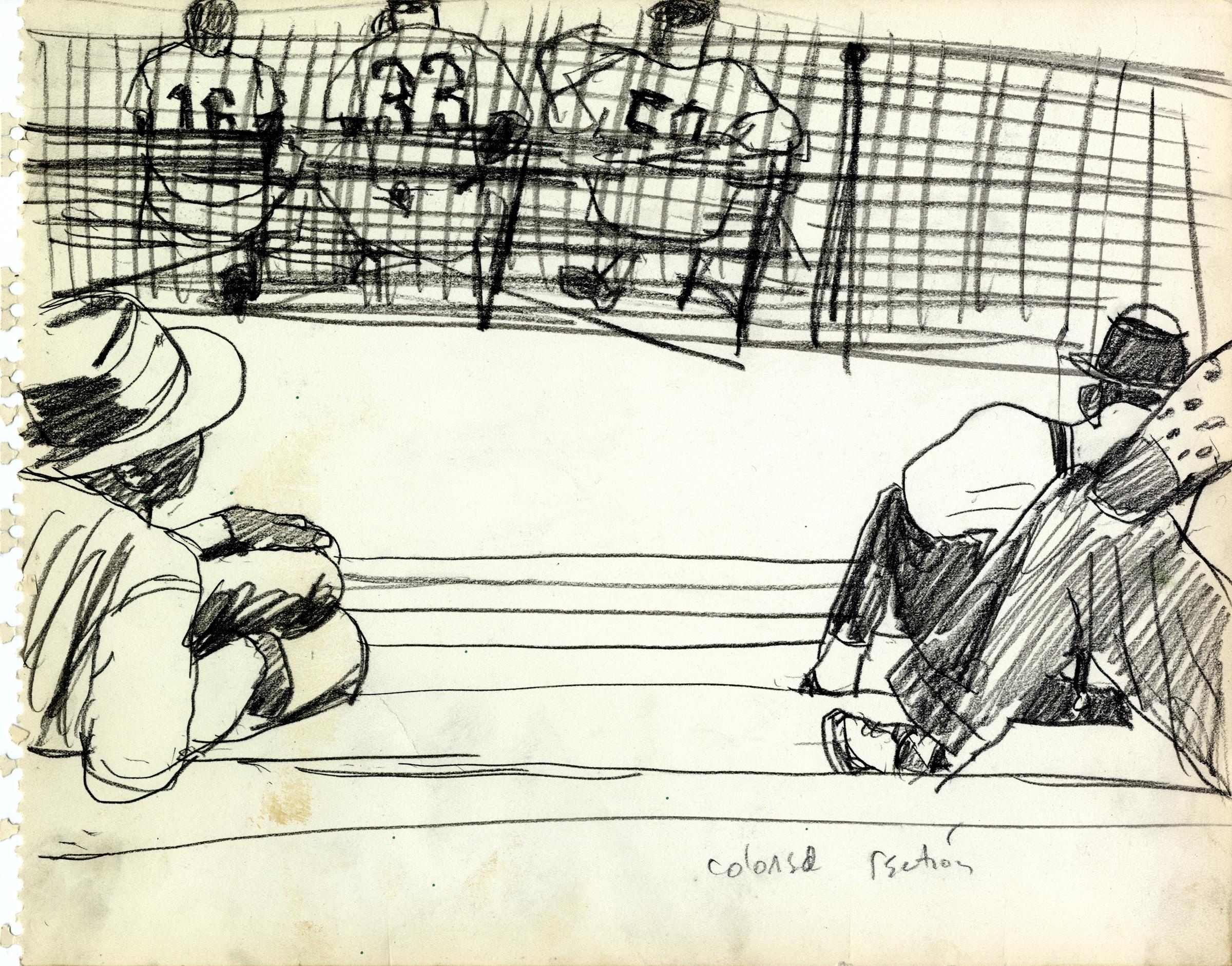 Pencil drawing of men watching spring training.