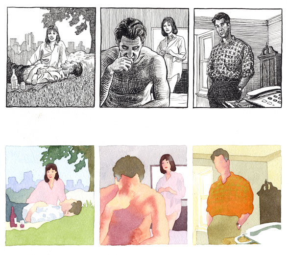 Two illustrations of the same images but in different medium. The top series of illustration is a cross-hatched comic strip of a man having a picnic with a lady, they're smiling then the man is siting on the edge of the bed frowning and hunched over with the lady is behind him half dressed with is shirt on, the last one is the man in a different room looking  at a phone in the foreground. Below is comic strip is he watercolor lineless version of the same images from above, except the man has no face but the lady does.