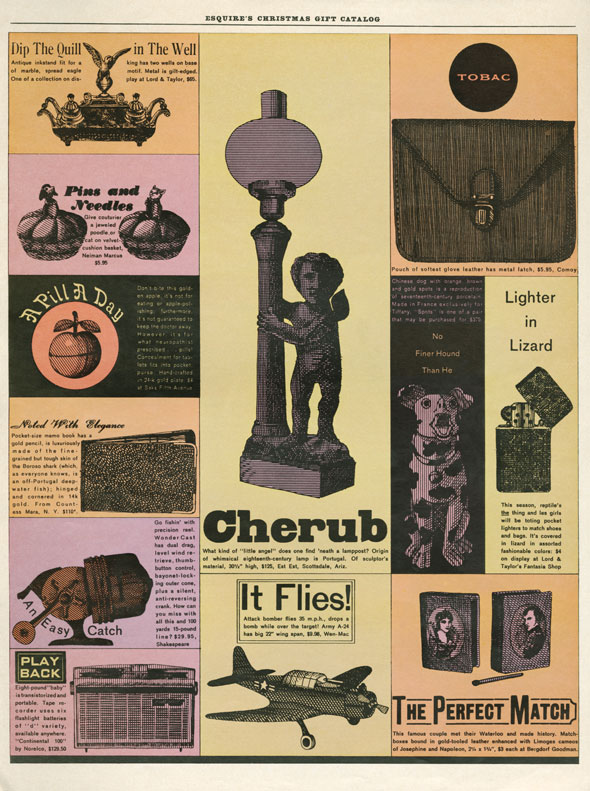 A color catalog of various objects, including a pincushions and a cherub statue.