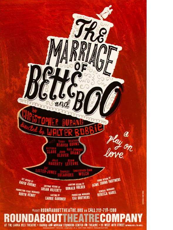 "A poster. Graphic design of a white wedding cake tipping over on a black stand against a red streaky background. On the cake is the title in a black unique font, "" The Marriage of Bette and Boo""."