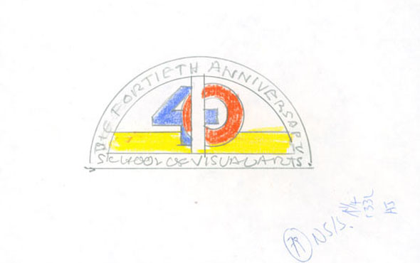 "A rough sketch of the logo. A semi-circle with a thick border and is spilt in half. The number 40 is in the middle in blue and red colors. In the border of the semi-circle ""Fortieth Anniversary"" . and ""School of Visual arts"" is written in pencil."