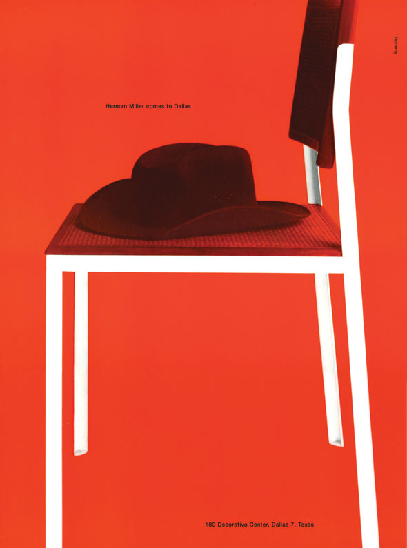 "Red with white accents; a photo of a chair with a cowboy hat on the seat. A small print text above the hat reads ""Herman Miller comes to Dallas"""
