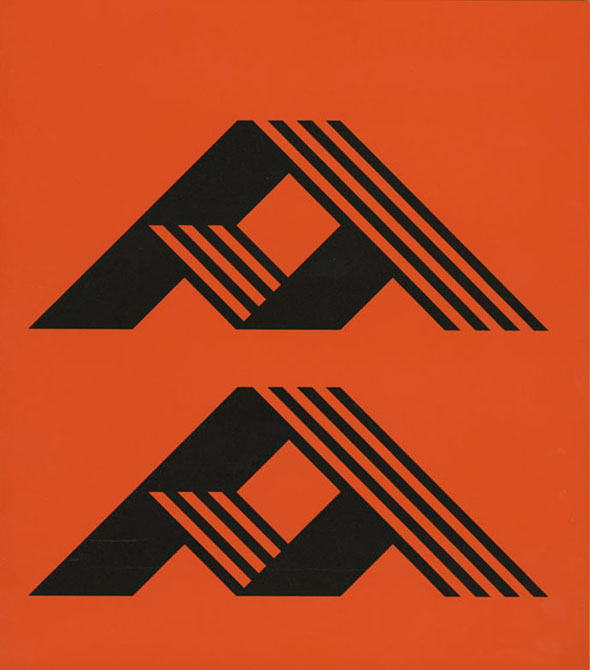 Two identical triangular black forms against an orange background