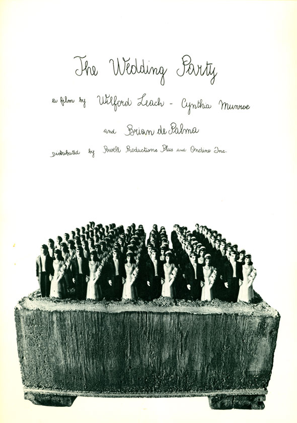 "A movie poster for ""The Wedding Party"" Directed by Brian DePalma. The poster is a picture of a cement box. Inside are 5 rows of a bride-and-groom cake toppers. All the cake toppers are submerged in the cement. The movie poster title and movie info are all written in thin cursive writing."