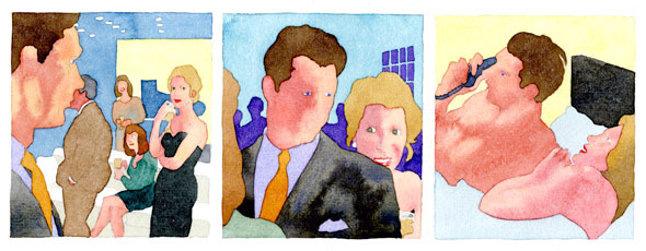 A comic strip of 3 illustrations. It's painted with watercolor and is lineless. It has the same images as the one above. The man and the lady has a face and the colors in this are light and peachy.
