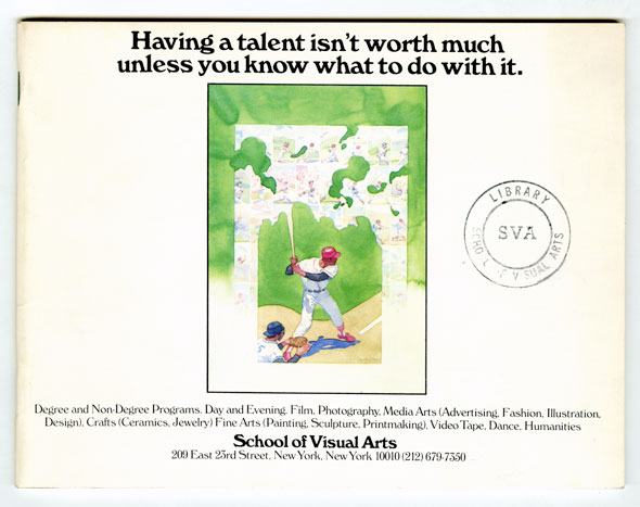 "A page from the booklet; A watercolor painting of a baseball player standing at bat. Above it in bold text ""Having a talent isn't worth much unless you know what to do with it"""