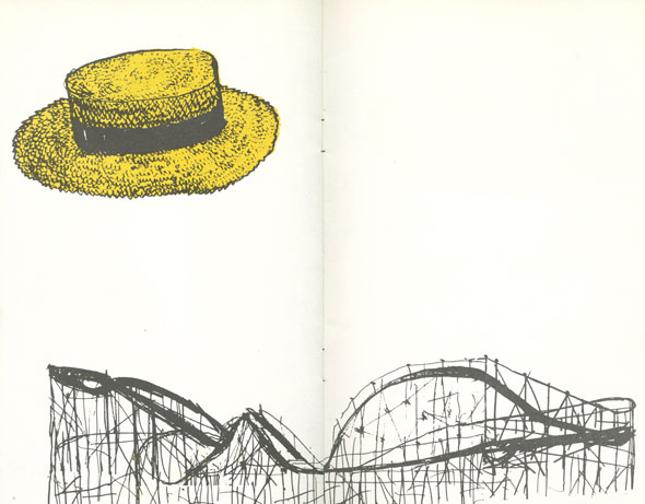 A black rollercoaster along the bottom of the white page; a large yellow hat floats above