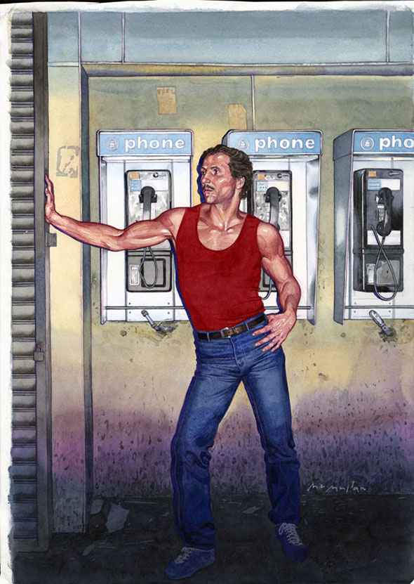 The completed illsutration (a man in a red tank top leaning against a wall by public phones)
