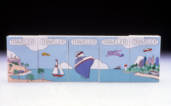 Cigarette packs where when five are aligned next to each other, illustrates a river with a sailboat and industrial boat, buildings on both coasts, and three airplanes in the sky.