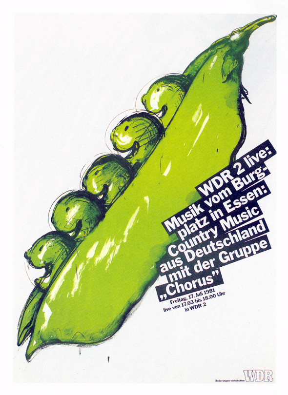 Illustration of smiling peas in a pod; black and white text is overlayed
