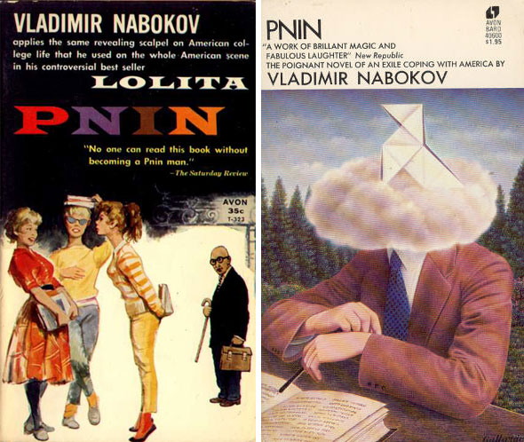 Two book covers for author Vladimir Nabokov. The cover on the left illustrates a group of brightly clothed girls, observed by a bald man in the distance, with round glasses and a cane. For the right cover, is an illustration of a seated man against a forestry background. His head replaced with a cloud and a seated paper-bird.