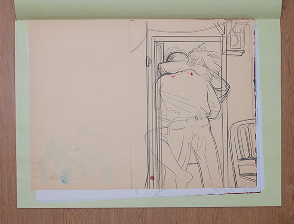 Loose pencil drawing of a man and woman embraced under a door frame.