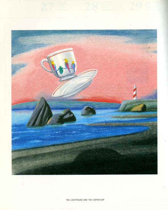 Painting of a coastline with pink clouds and a far-away lighthouse. A white teacup and saucer with red rims and a tropical bird design in front of the clouds.