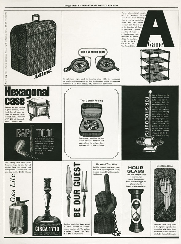 Black and white catalog of objects, including an hourglass and a hexagonal case