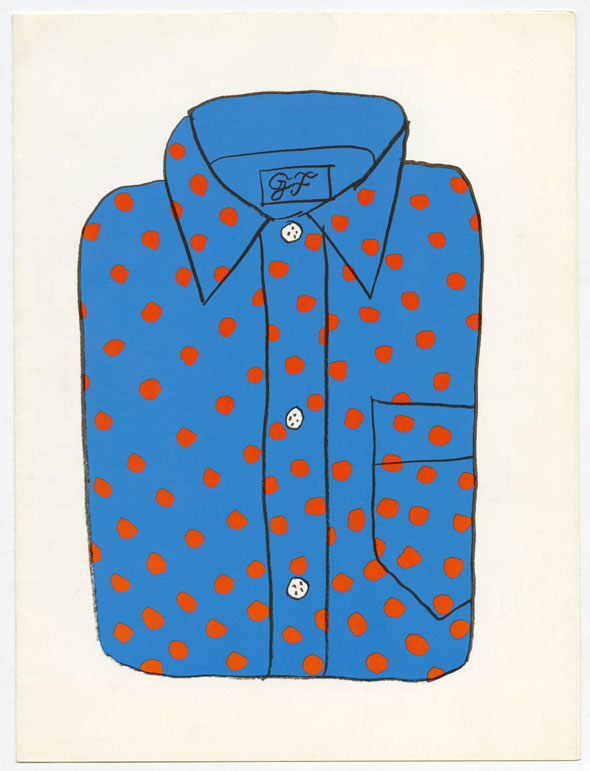 Drawing of a folded blue button down shirt with red polka dots against a white background