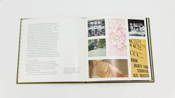 An opened book with text on the left, and several images to the right. Includes a cropped painting of a woman wearing a white dress, a light pink floral painting, and images of factory work.
