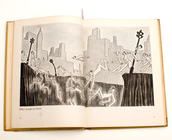 Black and white cartoon of nude people jumping into a chasm overlooking a cityscape