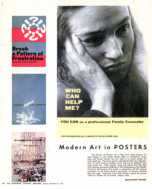 MoMA posters. A black and white Family Counselor poster of a woman with both hands against her face; a red, blue and white Family Counseling poster; a watercolor Cincinnati illustration poster; and a blue poster with black and white text.