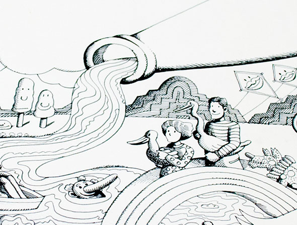 A drawing over white background with a river flowing from a bottle, smiling kites and trees, and a man and woman holding a goose and duck respectively.