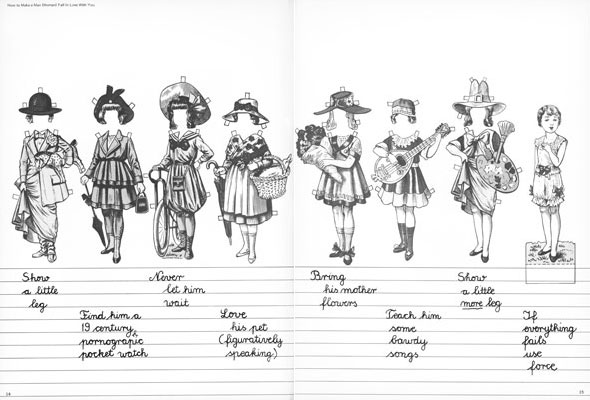 Black and white drawing of outfits for a paper doll lined up in a row, with the doll at the end; handwritten cursive text is on lined paper underneath.