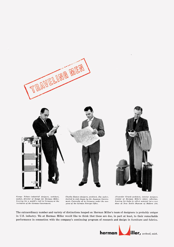 "Black and white full body portraits of three men in suits with luggage and maps; above in red is a stamp reading ""Traveling Men"""