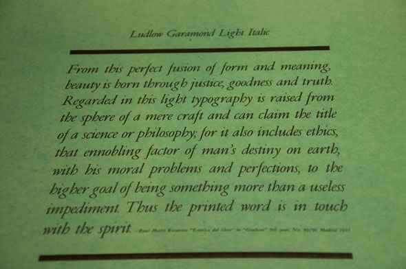 "Black text on green paper describing the virtues of the font ""Ludlow Garamond Light Italic"""