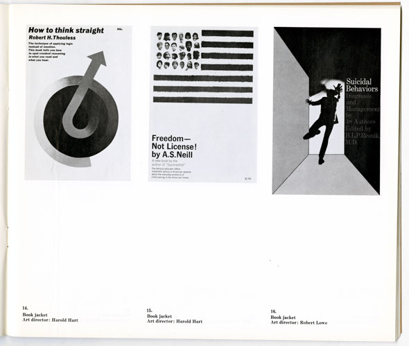 Three black and white posters; from left to right; How to think straight, with a graphic resembling a mars symbol; Freedom- not license! with an american flag graphic with human heads instead of stars; and suicidal behaviors, with a graphic of a man falling down a shadowed corridor