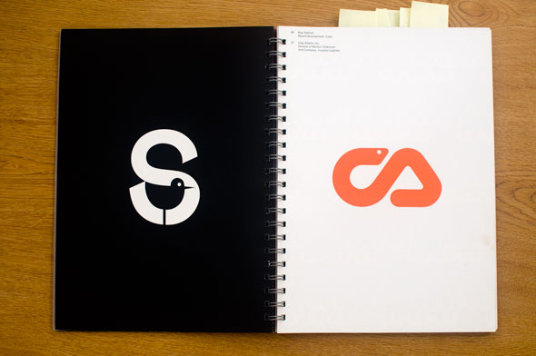 Spread of two graphics; left is a white letter S with a stylized bird in the negative space against a black background; right is a design of orange snake against a white background.