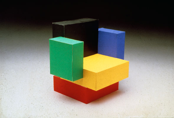 Photograph of a chair made up of primary colorful blocks