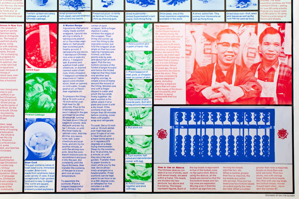An article in red, blue, and green font. Includes a wonton recipe, a picture of two Chinese men, and a print of an abacus.