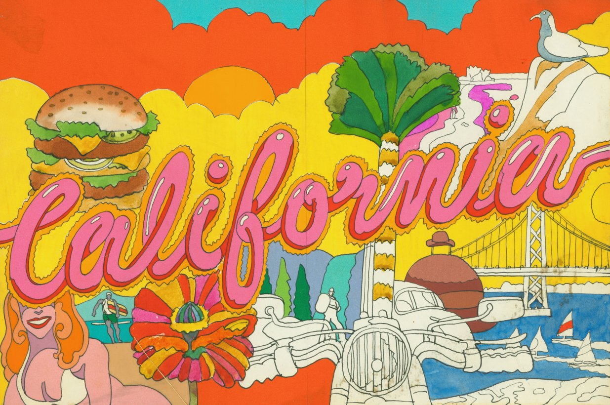 Layered sketch for Time cover with woman in bikini, hamburger, cars and the word California in big pink bubble letters.