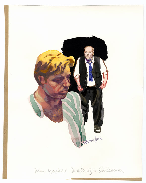 Watercolor; A portrait of a blonde man with downcast eyes; the fullbody of a middle-aged man in a suit is visible in the background