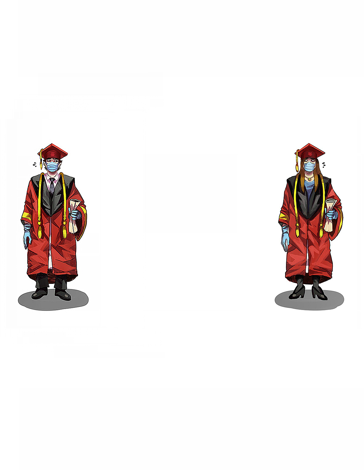 Two masked graduates standing six feet apart