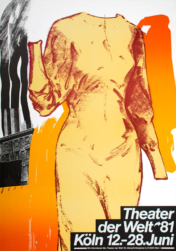 Drawing of a female torso in a yellow dress; background contains collage of a black and white building spewing black smoke