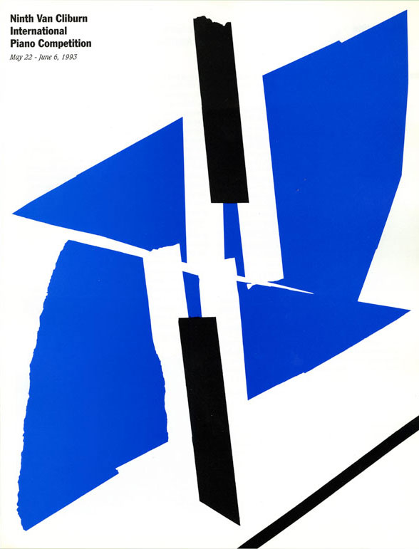 "Graphic design of an abstract piano made with black, white and blue paper against a white background. At the top is ""Van Cliburn International Piano Competition"" in black bold text."