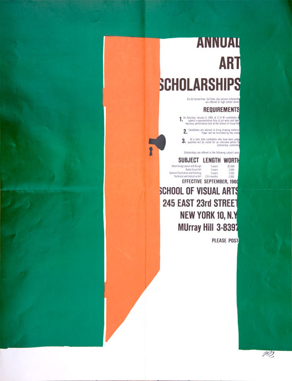Illustration of an orange door on a green wall opening to reveal a column of text containing scholarship information