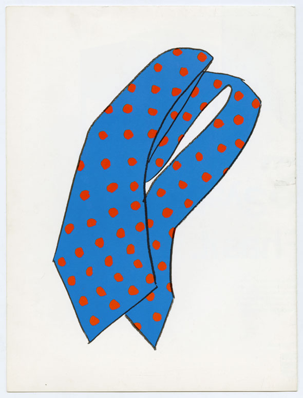 Drawing of a folded up blue tie with red dots against a white background