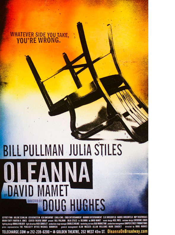 "A poster. A graphic of a black and white photograph of a metal chair turned upside down against an orange and blue gradient background.Blow the chair is a black square with a cut out of the title, ""Oleanna"""