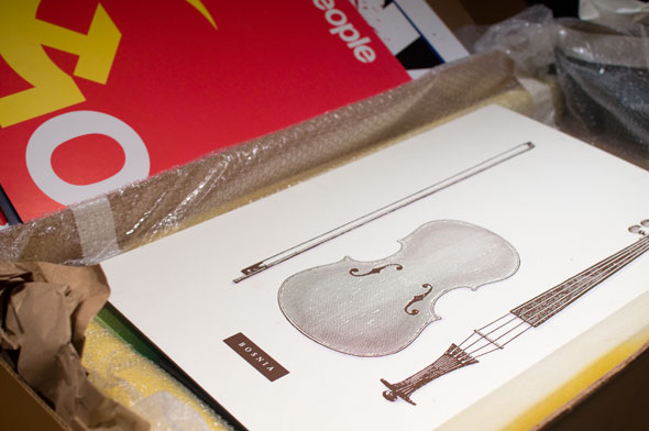 Illustration in packaging; art is of a violin with its segments next to each other