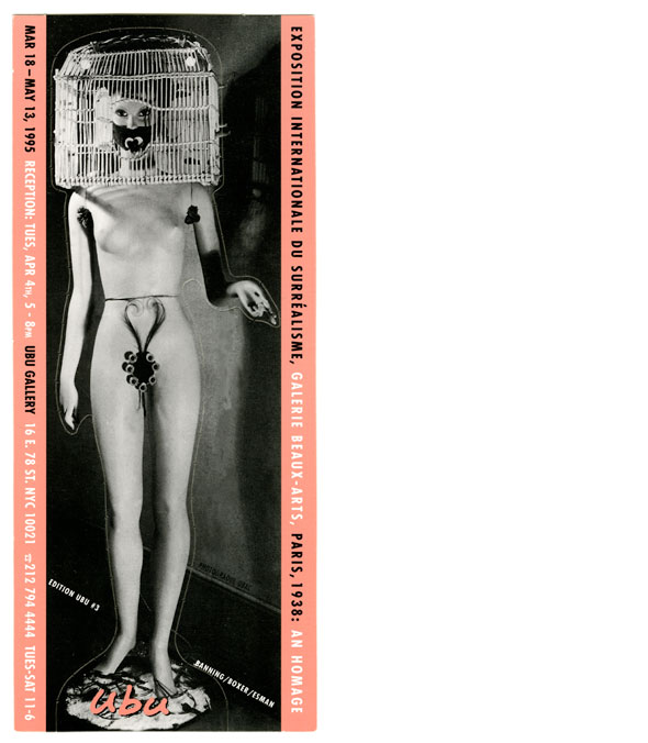 Vertical black and white photo of a female mannequin with a cage on her head, flanked by two pink borders with black and white text.