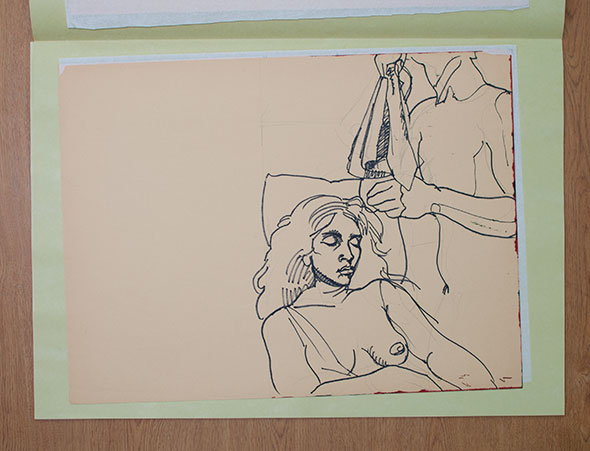 Sketch of an off-frame woman holding cloth and another woman laying beside her on the left.