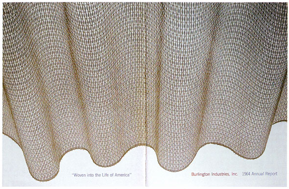 "A photo of thin burlap fabric that is rumpled. The white background can be seen through the thin fabric. Below the left side the fabric ""'Woven into the Life of America'"" is printed and below the right side of the fabric ""Burlington Industries, Inc. 1964 Annual Report"" is printed."