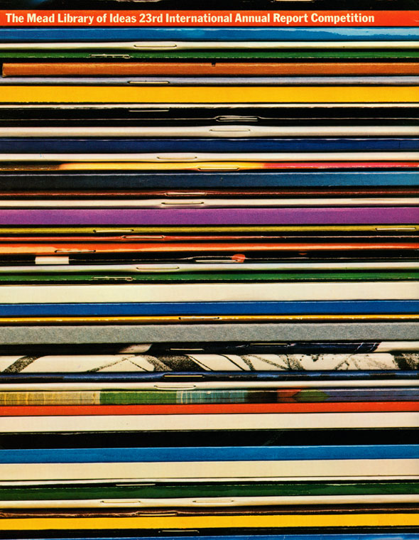 Photograph of colorful magazine spines stacked.