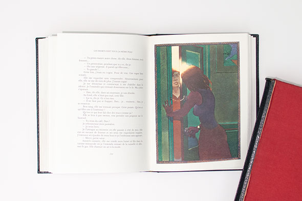 Illustration of a young woman in green interior space, opening a door to a visiting lady.