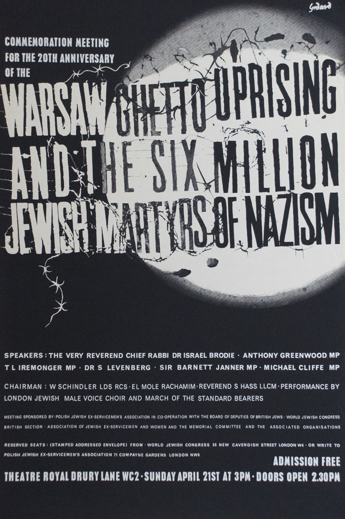 Commemoration Meeting for the 20th Anniversary of the Warsaw Ghetto Uprising and the Six Million Jewish Martyrs of Nazism poster